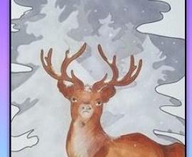 III nagroda konkursu anglojęzycznego - stary jeleń w lesie zimą