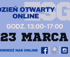 plakat zapraszający na dzień otwarty online 23.03
