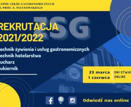 plakat - zaproszenie na dzień otwarty ZSG, online