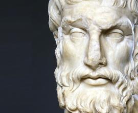 Epikur - rzeźba przedstawiająca twarz filozofa